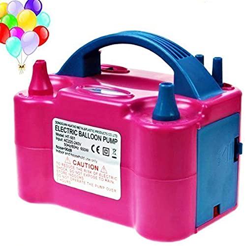Bomba de Globos Electrico, Bomba de Aire Eléctrica Para Globos 600w Portátil, Modo Automático y Semiautomático, Doble Boquilla Infladora/Ventilador para Cumpleaños, Fiestas, Bodas