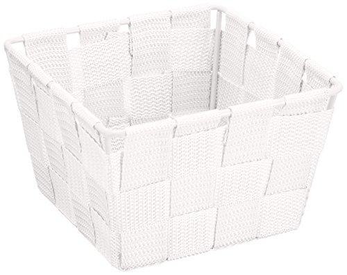 WENKO Aufbewahrungskorb Adria Mini Weiß - Badkorb, quadratisch, Kunststoff-Geflecht, Polypropylen, 14 x 9 x 14 cm, Weiß