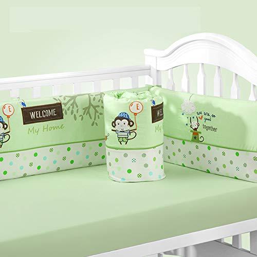 Coussins de pare-chocs pour lits de bébé respirants pour lits de bébé Doublure de lit rembourré lavable en machine, 100% coton tissé de première qualité, 5 pièces