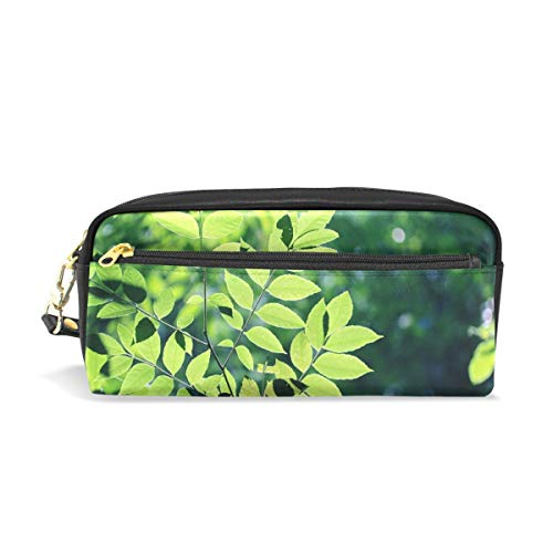 Pencil Case Stylish Print The Leaves Tree Green Woods Leaf Green Leaf Art Pattern Large Capacity Pen Bag Makeup Pouch Durable Students Stationery Two Pockets with Double Zipper