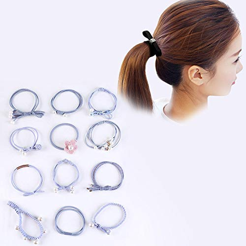 Tête Bandes Hoops 12 PCS/Boxed Simple Creative Lady Perle Bowknot Style Bande de Cheveux (Couleur : Baby Blue)