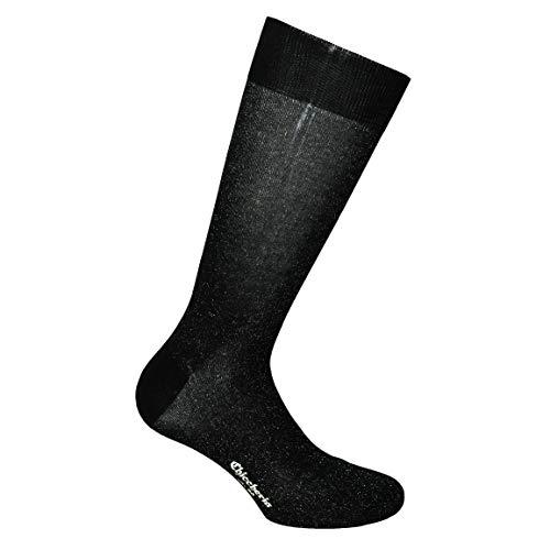 Chiccheria Brand Premium Herren Socken Bekannt aus GQ/Business-Socken Bunte Socken aus Baumwolle, Made in Italy by Bresciani, Schwarz mit Silberglitzer (L (44-45))