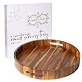 Acacia Wood Round Serving Tray - Breakfast Tray, Large handles for Easy Handling, Beautiful Wooden tray for multiple uses