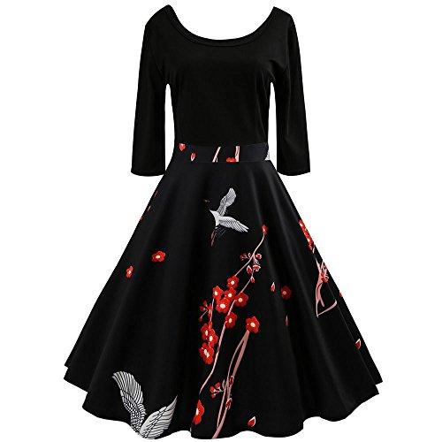 SUNNSEAN Damen Kleider Frauen Vintage Sexy ärmellose Blumenprint Spitze Patchwork Retro Hepburn A Linie Partykleid mit Gürtel Herbst Winter