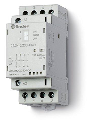 Finder serie 22 - Contactor modular 2na+2nc agsno2 selector +indicador +led