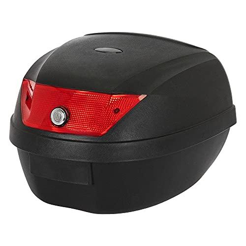 ECD Germany Motorradkoffer Topcase 36L für 1 Helm, Top case Motorrad Roller Universal, Schwarz mit rote Reflektor, wasserdicht, Rollerkoffer Motorradtasche Helmkoffer für Roller, Motorrad, Mofa & Quad