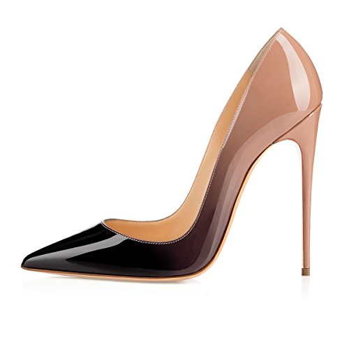 EDEFS Zapatos de Tacón para Mujer,Zapatos de Tacón Alto 12 CM Nude EU35
