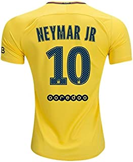 NEYMAR JR #10 PARIS SAINT-GERMAIN # PSG 17/18 Away Soccer Jersey Men's Color Yellow Size XL