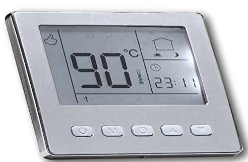 SM-PC®, Raumthermostat Thermostat programmierbar Digital silber farbiger Rahmen #841
