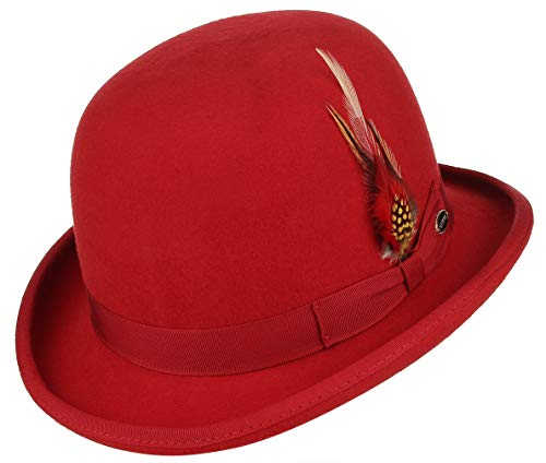 GEMVIE Men Vintage Feather Wool Felt Derby Hat Classic Roll Up Bowler Hat Red