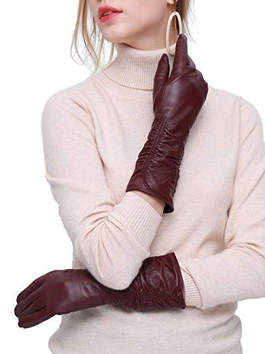 YISEVEN Guantes Mujer Pantalla Táctil otoño Invierno de Cuero de Oveja Piel de corder Dedo Completo Forroda Lana de Codos Largo Térmico muñeca elegante baile fiesta paquete regalo,vino L