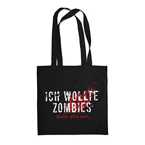 Fashionalarm Stoffbeutel - Ich wollte Zombies. Dieses Virus nervt. | Beutel Baumwoll-Tasche Spruch Apokalypse 2020 COVID-19 Corona-Satire Virus, Schwarz One Size