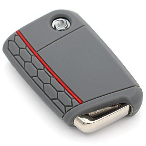 Schlüssel Hülle VB für 3 Tasten Auto Schlüssel Silikon Cover von Finest-Folia (Aschgrau Rot)