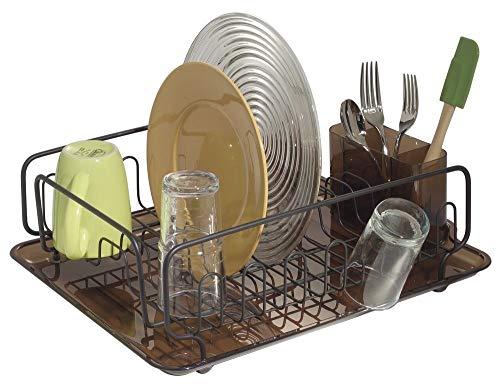 mDesign Abtropfgestell – zum Trocknen von Gläsern, Besteck, und Tellern – mit Kunststoffunterlage, für den flexiblen Einsatz auf der Arbeitsfläche – Geschirrablage - Farbe: Bronzefarben