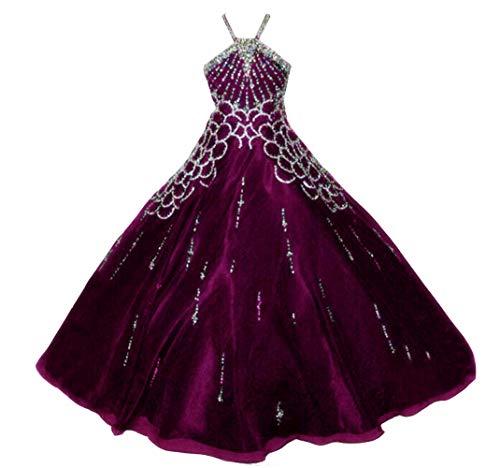 VeraQueen Girl's Princess Halter Sequins Sleeveless Pageant Dresses A Line Organza Beaded Ball Gowns Flower Girl Dress Fuchsia