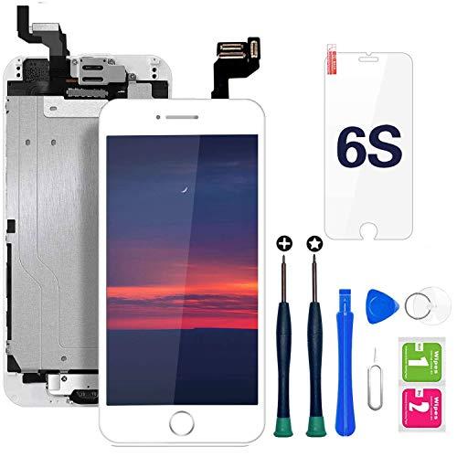 Hoonyer Pantalla para iPhone 6s Pantalla Blanco táctil LCD Pantalla digitalizadora Herramientas de reparación con botón de Inicio, cámara Frontal,Sensor de proximidad, Altavoz