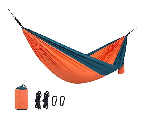 MXXS Single Double Camping Lightweight Portable Hammock Outdoor/GardenLeisure camping portable beach swing bed tree hanging suspended hammock 107 (Color : Orange, Size : 290x148cm(114x58in))