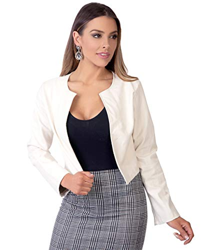 KRISP Damen Kurze Langarm Jacke in Metallic, Glanz & Matt - Weiß (4432) - XL (46)