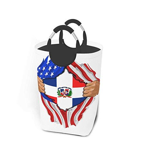 República Dominicana Bandera Arte Cesto de lavandería Cesto de ropa plegable de tela Cesta de lavandería grande Bolsa de ropa sucia Papelera de lavado plegable Organizador de lavandería duradero para