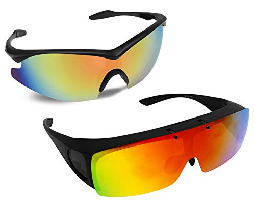 Bell+Howell Tac Flip and Tac glasses One-Size-Fits-All Polarized Sports Sunglasses for Men/Women, Unisex, Military Eyewear As Seen On TV