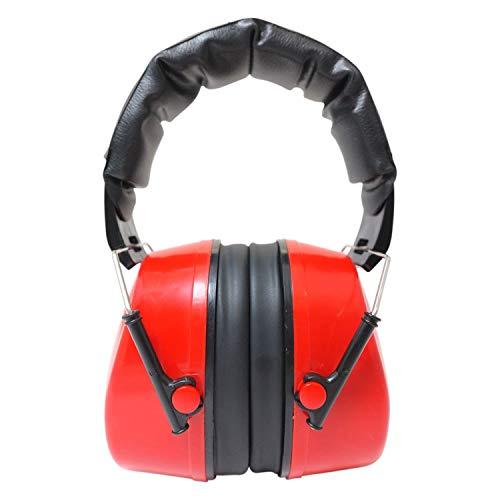 Viwanda Basel rote Kapselgehörschützer Lärmschutz SNR 29dB, NRR 25dB CE EN 352-1 - verstellbar komfortabel Gehoerschutz für Erwachsene Kinder