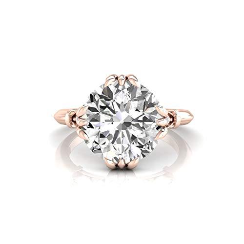 Diamondrensu Old European Cut Vintage Engagement Ring, 2.97 CTW Round OEC Colorless Moissanite Wedding Ring for Women, Unique Heritage Ring, 10K Rose Gold, Ring Size 3 US