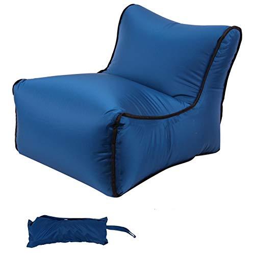 DASNTERED Sofá inflable perezoso con bolsa de almacenamiento, plegable al aire libre camping sofá inflable bolso perezoso bolsillo silla aire viaje rápido