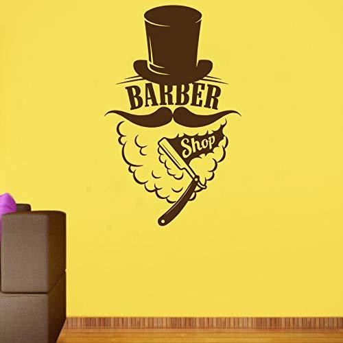 ASFGA Coole Bart Hut Friseur Aufkleber benutzerdefinierte Rippen Brot Shop Poster Vinyl Wandkunst Fensterdekoration Friseur Rasiermesser Glas Aufkleber 99x160cm