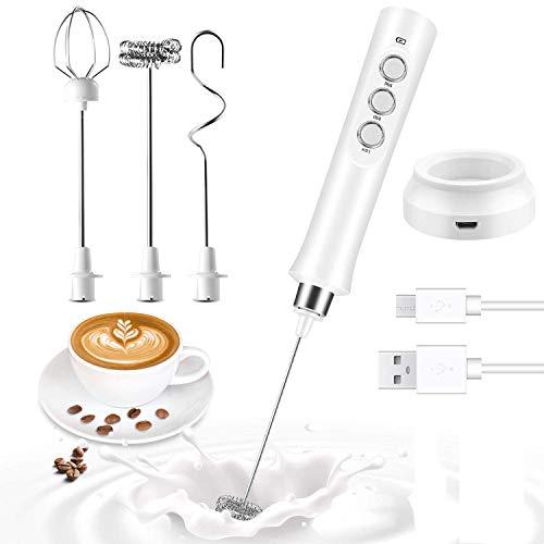 JSDing Milchaufschäumer Elektrisch | Milchschäumer Handlicher USB | Milchshake Mixer Milk Frother | Milchaufschäumer Stab für Kaffee Latte Eier Schlagen