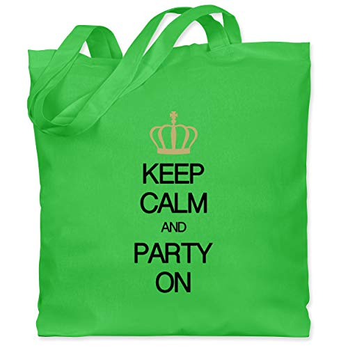 Shirtracer Keep calm - Keep calm and party on - Unisize - Hellgrün - Meme - WM101 - Stoffbeutel aus Baumwolle Jutebeutel lange Henkel