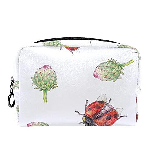 Estuche cosméticos Viaje portátil Organizador Bolsas Maquillaje Antichake Ladybug Cremallera Bolsillo Grande Almacenamiento