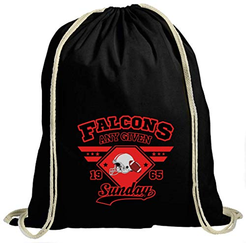 Shirt Happenz Falcons Any Given Sunday Dirty Birds Atlanta Football Premium Turnbeutel Unisex Gymbag, Größe:37cm x 46 cm, Farbe:Schwarz (Gymbeutel)
