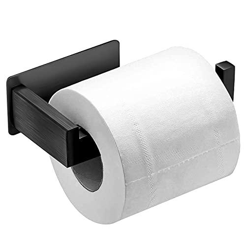 Auxmir Porta Carta Igienica Portarotolo Carta Igienica Adesivo 3M in Acciaio Inox SUS 304 Porta Carta Igienica a Muro Antiruggine senza Foratura per Bagno, Cucina, Ufficio, Nero