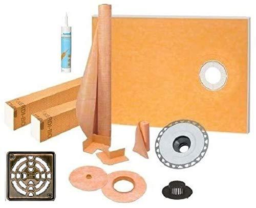 "Schluter Kerdi Shower Kit 38"" x 60"" Offset Shower Tray (KST965/1525S) with 2"" PVC Bonding Flange, Strainer, Joint Sealant and 4"" Oil-Rubbed Bronze Grate"