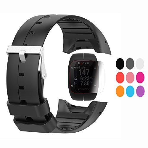 TUSITA Strap + protector de pantalla para Polar M400 / M430, reemplazo de silicona correa pulsera WristBand accesorio para Polar GPS Watch (NEGRO)