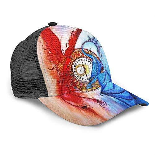 Phoenix and Ice Dragon Reloj de tiempo para mujer y hombre, gorra de béisbol ajustable con malla para camiones, gorras planas de 6 paneles, estilo polo, sombrero para papá, unisex, color negro