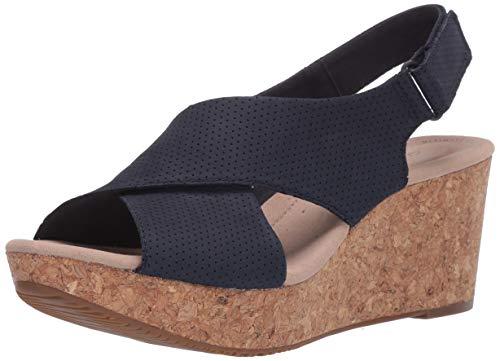 Clarks Annadel Parker Damen Sandalen Keilabsatz, Blau (Marineblau (Veloursleder)), 42 EU