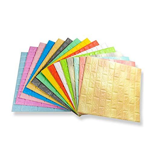CAETNY 3D-Backstein-Wandaufkleber, 3D-Backstein-Tapete, DIY-Wandaufkleber Klebepaneel-Wandbild für Wohnzimmer Schlafzimmer Küche Wohnkultur (Farbe: Blau)