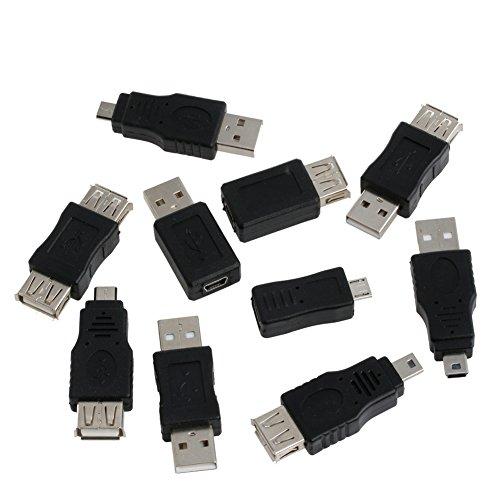 CAFFAINA 10pcs OTG 5 Pin F/M Mini Cambiador Adaptador Convertidor USB Macho a Hembra Micro USB