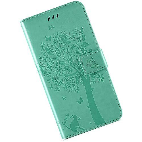 Qjuegad Kompatibel mit Samsung Galaxy A70 Klappbare Stoßfeste Hülle,Geprägte Einfarbige Katze und Baum Ledertasche Stand Stoßfeste Premium Soft PU Brieftasche Cover mit Kartenfächern,Grün