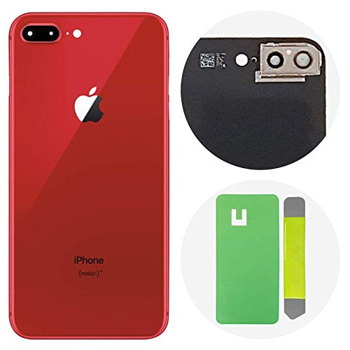 Best OEM iPhone 8 Plus Back Glass Cover Battery Door Replacement w/Adhesive, Installed Camera Frame w/Lens (Red)