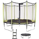 Kangui - Trampoline de Jardin 426 cm + Filet de sécurité + échelle + bâche de Protection JUMPI Vert/Noir 430