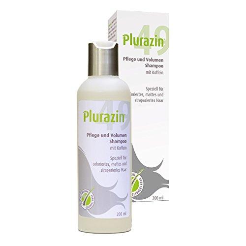 Plurazin 49 Pflege und Volumen Shampoo I Bei Haarausfall und Haarwachstumsstörungen in den Wechseljahren, Menopause I Haar Nährstoffe + Vitamine + Mineralien I Koffein, Arginin, Leinsamen-Extrakt