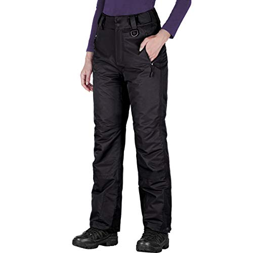 FREE SOLDIER Women's Outdoor Snow Ski Insulated Pants Windproof Waterproof Breathable Pants for Snowboarding (Black Small(4-6)/32L)