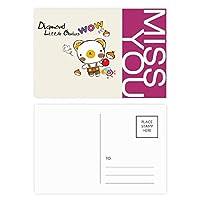 創造的な漫画の動物の果実 ポストカードセットサンクスカード郵送側20個ミス