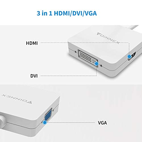 Mini DisplayPort to VGA HDMI DVI Adapter,Microsoft Surface Pro 6 5 4 3 Video Display Converter,Thunderbolt to HDMI VGA DVI Adaptor for Mini DP Mac,MacBook Pro,Air,MS Surface Book to Projector,Monitor