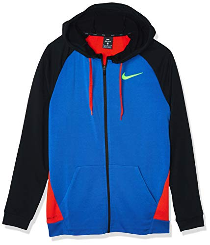 Nike Herren M NK Dry Hoodie FZ Fleece Sweatshirt, Game royal/Black/Habanero red, S