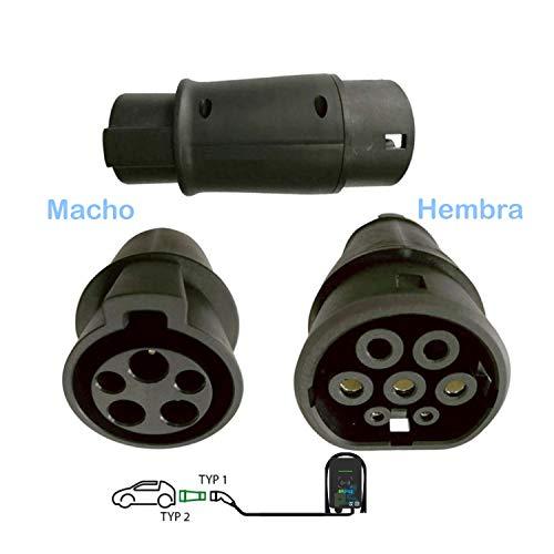 evplug / Cable de Carga para Coches Eléctricos EV, PHEV | 3.6 kW / 7.2 kW / 11 kW / 22 kW | Typ 2 IEC 62196-2 - Typ 1 SAE J1772 | 3-5 m | ZOE, Kona, E-208, 3, ID.3, MII, etc(Tipo 1 a Tipo 2 7,4kW)