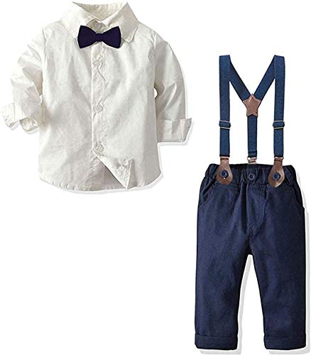 Baby Boys Dress Clothes, Toddlers Boys Long Sleeves Button Down Dress Shirt with Bowtie + Suspender Pants Set Gentlemen Outfit, 1# White, Tag 90 = 18-24 Months