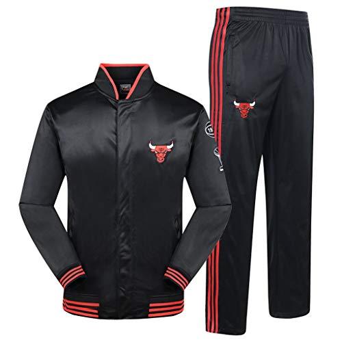 MFsports Chicago Bulls Herren Trainingsanzug Sweatjacke Hose Basketball Sportbekleidung Jogging Fitnessanzug Jacken + Hosen